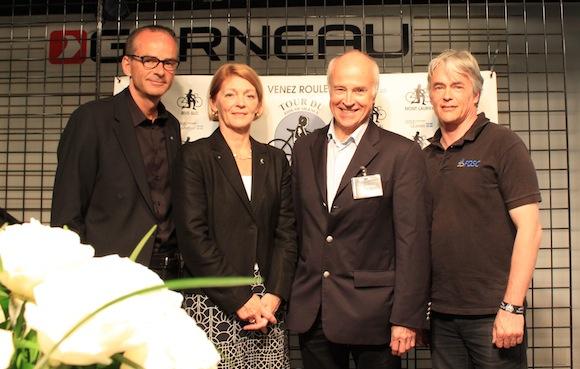 Louis Garneau, Sylvie Lemieux (SAAQ), Jean-Marie De Koninck (Table de la sécurité routière), tous unis pour améliorer la situation, sur les routes du Québec.
